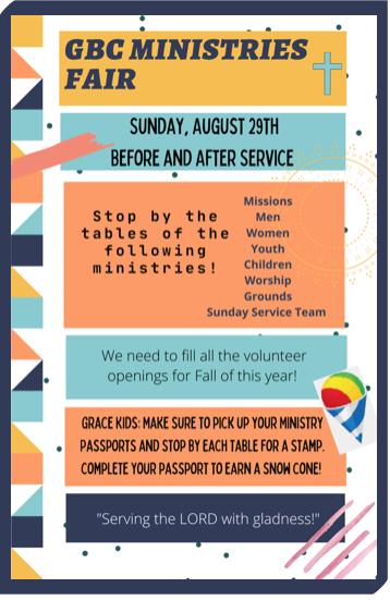GBC Ministries Fair – Sunday, August 29th